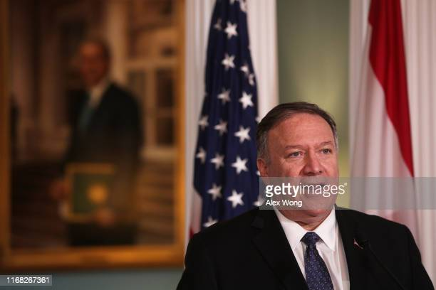 Secretary of State Mike Pompeo makes remarks to members after a meeting with Lebanese Prime Minister Saad Hariri at the State Department August 15,...