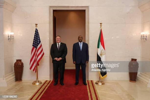 Secretary of State Mike Pompeo meets Chairman of the Transitional Military Council Abdel Fattah al-Burhan on August 25, 2020 in Khartoum, Sudan.