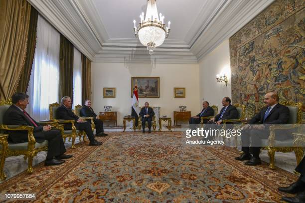 US Secretary of State Mike Pompeo meets Egyptian President Abdel Fattah alSisi Minister of Foreign Affairs of Egypt Sameh Shoukry and Director of the...