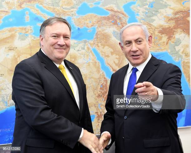 US Secretary of State Mike Pompeo meets Israeli Prime Minister Benjamin Netanyahu and deliver remarks to the media at the Prime Minister's Office in...
