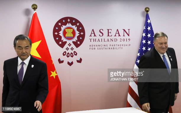 Secretary of State Mike Pompeo meets with China's Foreign Minister Wang Yi on the sidelines of the 52nd Association of Southeast Asian Nations...