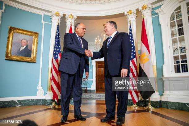 Secretary of State Mike Pompeo meets with Egyptian Foreign Minister Sameh Shoukry at the U.S. Department of State on December 9, 2019 in Washington,...