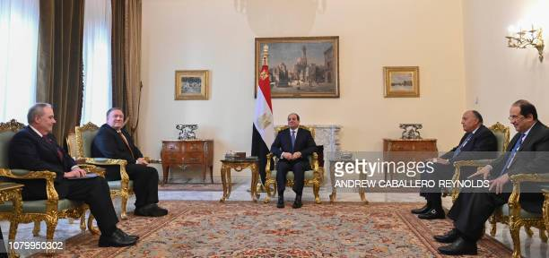 US Secretary of State Mike Pompeo meets with Egyptian President Abdel Fattah alSisi Foreign Minister Sameh Shoukry and Intelligence chief Abbas Kamel...