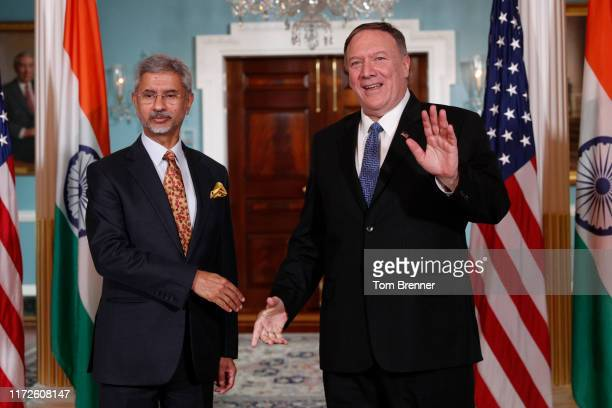 Secretary Of State Mike Pompeo meets with Indian External Affairs Minister Subrahmanyam Jaishankar at the U.S. Department of State on September 30,...