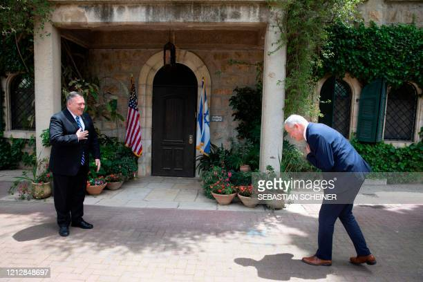 Secretary of State Mike Pompeo , meets with Israeli Blue and White party leader Benny Gantz, in Jerusalem, on May 13, 2020. - Pompeo visited Israel...