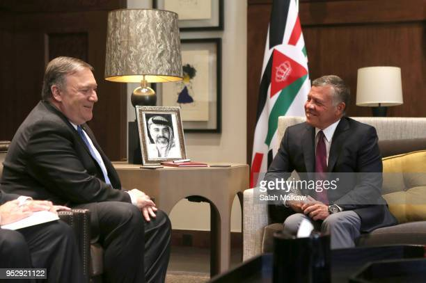 Secretary of State Mike Pompeo meets with King Abdullah II at alHusseineya palace on April 30 2018 in Amman Jordan