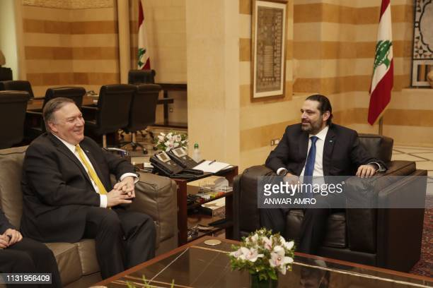 US Secretary of State Mike Pompeo meets with Lebanon's Prime Minister Saad Hariri in the capital Beirut on March 22 2019 Pompeo's trip comes weeks...