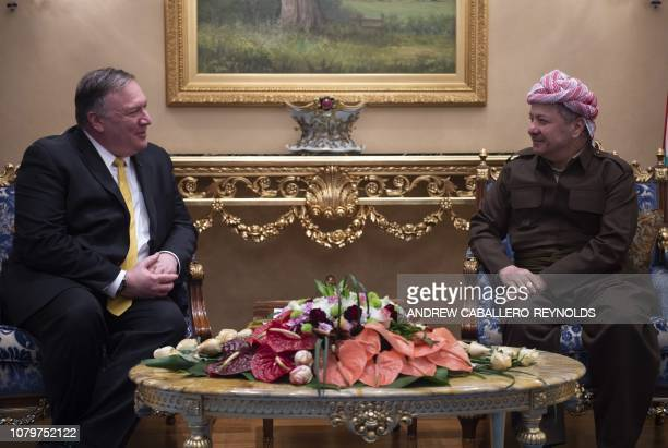 US Secretary of State Mike Pompeo meets with Masoud Barzani leader of the Kurdistan Democratic Party in the province's capital Arbil during a Middle...