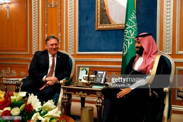 US Secretary of State Mike Pompeo meets with Saudi Crown Prince Mohammed bin Salman in Riyadh on October 16 2018 Pompeo held talks with Saudi King...