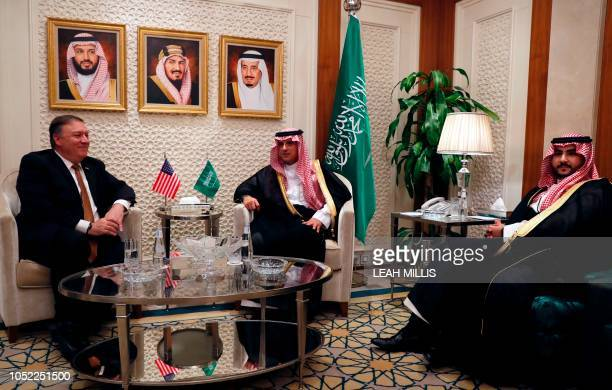US Secretary of State Mike Pompeo meets with Saudi Foreign Minister Adel alJubeir and Prince Khaled bin Salman in Riyadh on October 16 2018 Pompeo...