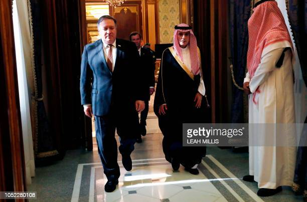 US Secretary of State Mike Pompeo meets with Saudi Foreign Minister Adel alJubeir in Riyadh on October 16 2018 Pompeo held talks with Saudi King...