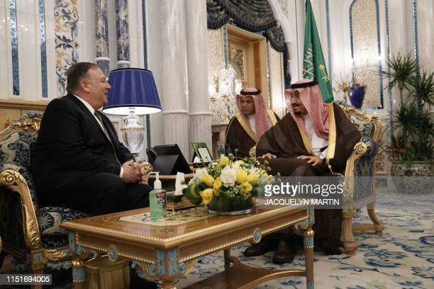US Secretary of State Mike Pompeo meets with Saudi King Salman bin Abdulaziz at Al Salam Palace in the Red Sea city of Jeddah on June 24 2019 Pompeo...
