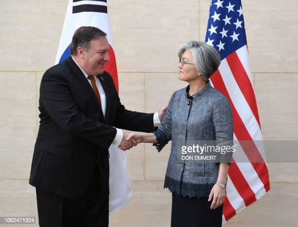 US Secretary of State Mike Pompeo meets with South Korean Foreign Minister Kang Kyungwha on July 20 in New York