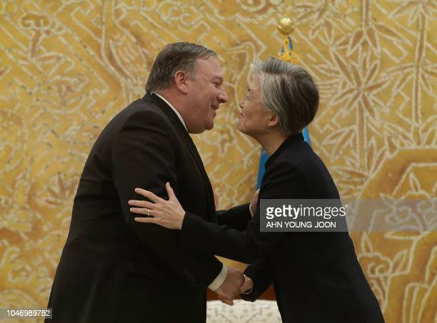 US Secretary of State Mike Pompeo meets with South Korean Foreign Minister Kang Kyungwha before a meeting with South Korean President Moon Jaein at...