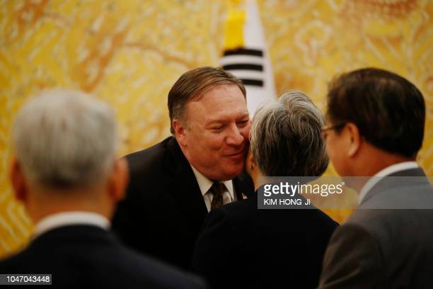 US Secretary of State Mike Pompeo meets with South Korean Foreign Minister Kang Kyungwha before meeting with South Korean President Moon Jaein at the...