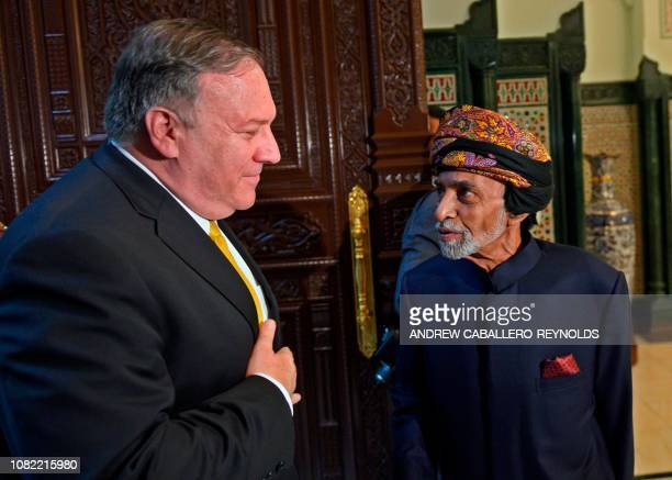 Secretary of State Mike Pompeo meets with Sultan Qaboos in the Omani capital Muscat on January 14, 2019.