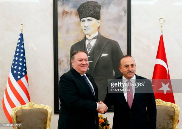 US Secretary of State Mike Pompeo meets with Turkish Foreign Minister Mevlut Cavusoglu in Ankara on October 17 2018 US Secretary of State Mike Pompeo...