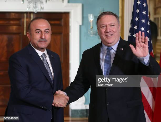 S Secretary of State Mike Pompeo meets with Turkish Foreign Minister Mevlut Cavusoglu at the Department of State on November 20 2018 in Washington DC...