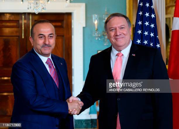 US Secretary of State Mike Pompeo meets with Turkish Foreign Minister Mevlut Cavusoglu at the US Department of State in Washington DC on April 3 2019