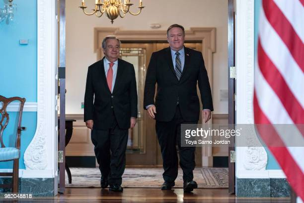 S Secretary of State Mike Pompeo meets with United Nations SecretaryGeneral Antonio Guterres at the Department of State on June 23 2018 in Washington...