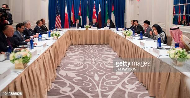 US Secretary of State Mike Pompeo participates in a Gulf Cooperation Council meeting in New York on September 28 2018