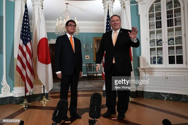S Secretary of State Mike Pompeo participates in a photoop with Japanese Foreign Minister Taro Kono at the State Department June 6 2018 in Washington...