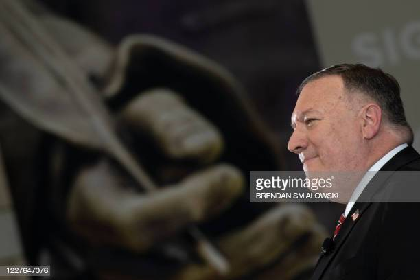 Secretary of State Mike Pompeo pauses while speaking at the National Constitution Center about the Commission on Unalienable Rights July 16 in...
