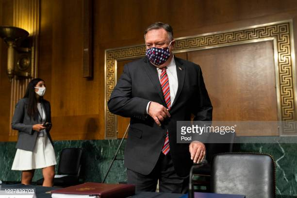 Secretary of State Mike Pompeo prepares to testify before a Senate Foreign Relations committee hearing on the State Departments 2021 budget in the...