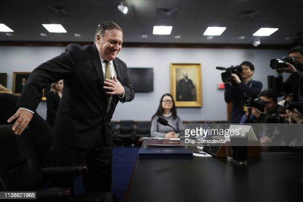 S Secretary of State Mike Pompeo prepares to testify before the House Appropriations Committee's State Foreign Operations and Related Programs...