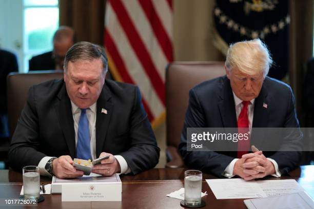 Secretary of State Mike Pompeo reads a prayer as he sits next to US President Donald Trump during a cabinet meeting in the Cabinet Room of the White...