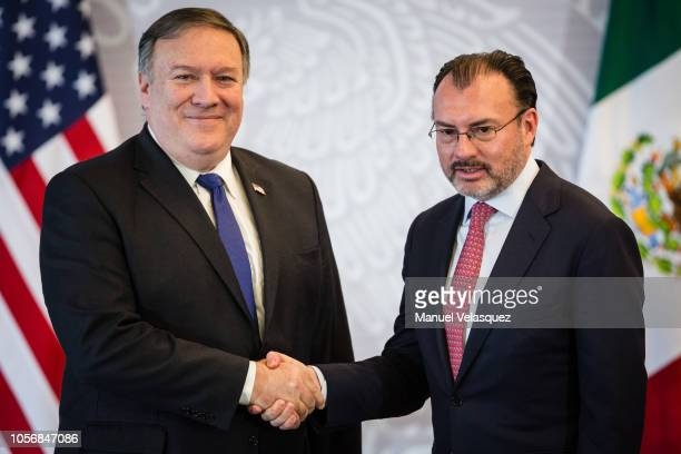 S Secretary of State Mike Pompeo shakes hands with Foreings Affairs Secretary of Mexico Luis Videgaray during a press conference as part of US...