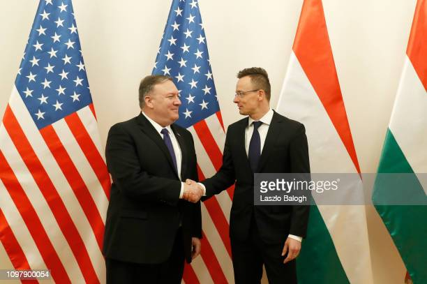 Secretary of State Mike Pompeo shakes hands with Hungarian Foreign Minister Peter Szijjarto on February 11 2019 in Budapest Hungary Pompeo is...
