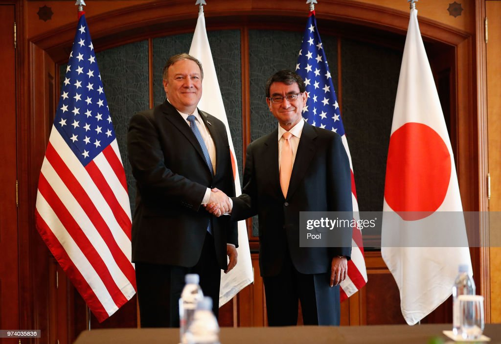 U.S. Secretary of State Mike Pompeo shakes hands with Japanese Foreign Minister Taro Kono before their meeting at South Korea's foreign ministry on June 14, 2018 in Seoul, South Korea. U.S. Secretary of State Mike Pompeo visited South Korea to meet South Korea's President Moon Jae-in and Japan's Foreign Minister following a landmark meeting between U.S. President Donald Trump and North Korean leader Kim Jong-un.