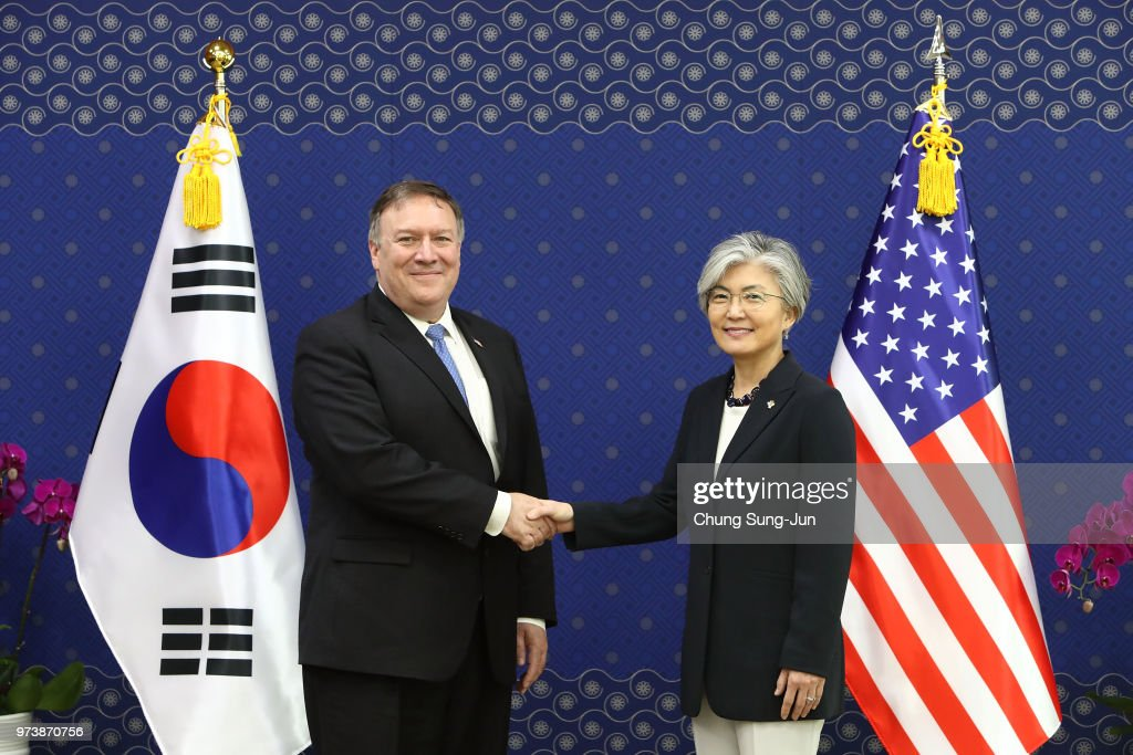 U.S. Secretary of State Mike Pompeo shakes with South Korean Foreign Minister Kang Kyung-wha during their meeting at foreign ministry on June 14, 2018 in Seoul, South Korea. U.S. Secretary of State Mike Pompeo visited South Korea to meet South Korea's President Moon Jae-in and Japan's Foreign Minister following a landmark meeting between U.S. President Donald Trump and North Korean leader Kim Jong-un.