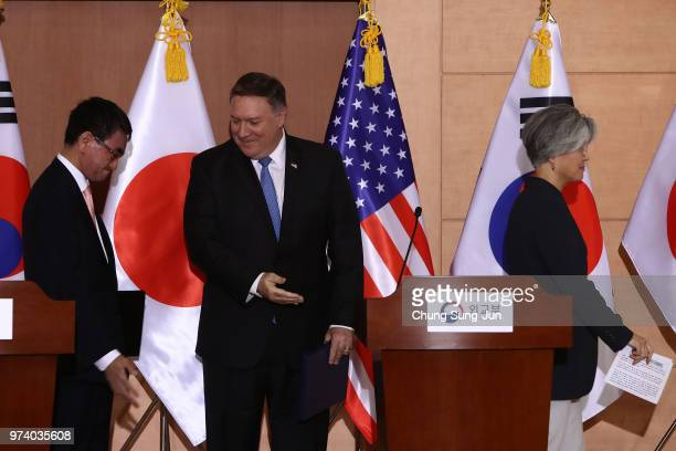 S Secretary of State Mike Pompeo South Korean Foreign Minister Kang Kyungwha and Japanese Foreign Minister Taro Kono leave after joint press...