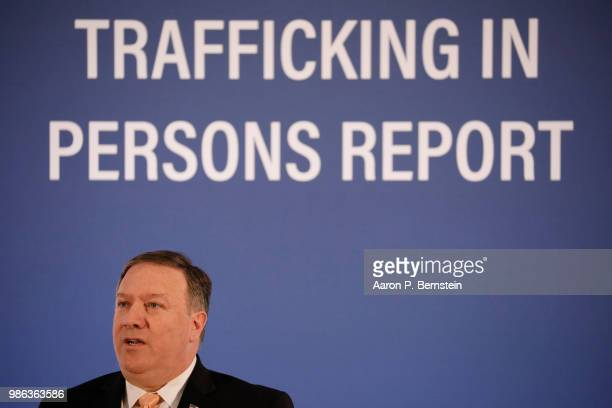 Secretary of State Mike Pompeo speaks about the release of the Trafficking in Persons report at the State Department June 28 2018 in Washington DC...