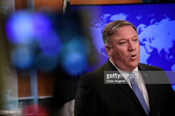 S Secretary of State Mike Pompeo speaks about the Trump administration's Cuba policy during a press briefing at the US Department of State April 17...