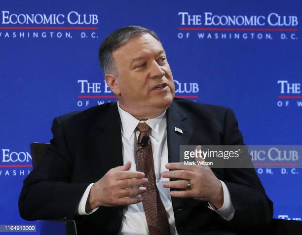 Secretary of State Mike Pompeo speaks about U.S. Diplomatic relations and trade agreements during a discussion hosted by the Economic Club of...