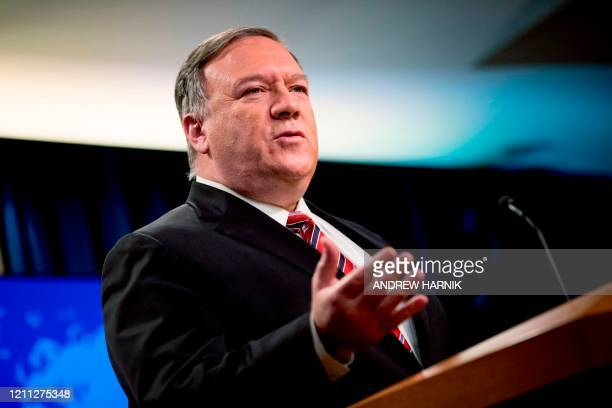 Secretary of State Mike Pompeo speaks at a news conference at the State Department on April 29 in Washington,DC.