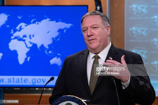 Secretary of State Mike Pompeo speaks at a press briefing at the State Department in Washington, DC, on April 22, 2020. - A controversial decision on...