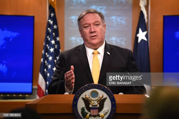 Secretary of State Mike Pompeo speaks at a press briefing in the State Department in Washington DC on February 1 2019 Pompeo announced that the US...