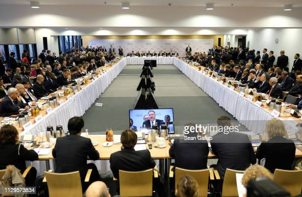 S Secretary of State Mike Pompeo speaks at the opening session of the Ministerial to Promote a Future of Peace and Security in the Middle East on...