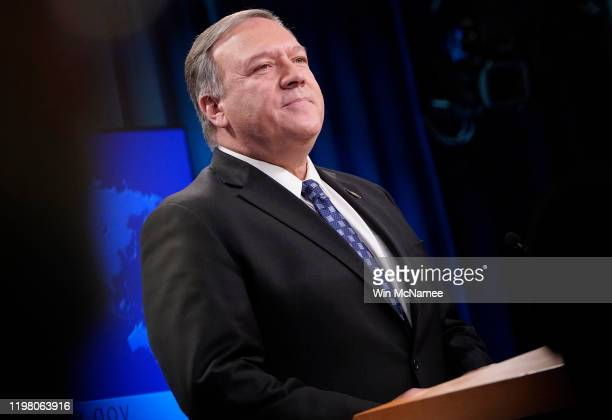 Secretary of State Mike Pompeo speaks at the U.S. State Department January 07, 2020 in Washington, DC. When questioned about the killing of Iranian...