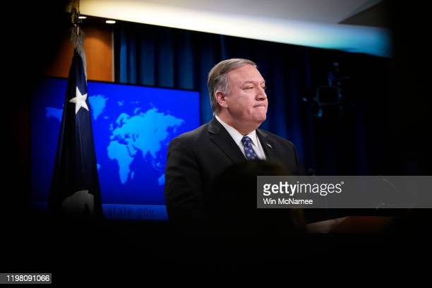 S Secretary of State Mike Pompeo speaks at the US State Department January 07 2020 in Washington DC When questioned about the killing of Iranian Quds...