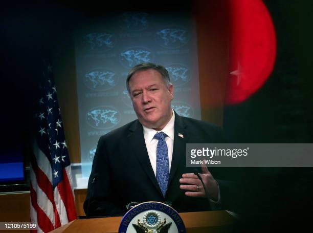 Secretary of State Mike Pompeo speaks during a briefing at the State Department on February 5, 2020 in Washington, DC. Secretary Pompeo spoke on...