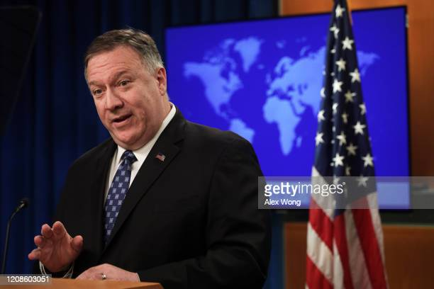 Secretary of State Mike Pompeo speaks during a news briefing at the State Department February 25, 2020 in Washington, DC. Secretary Pompeo discussed...
