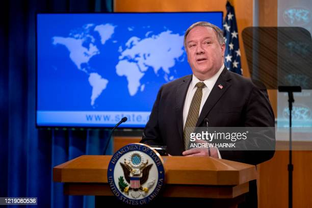 Secretary of State Mike Pompeo speaks during a news conference at the State Department in Washington,DC on June 10, 2020. - US Secretary of State...