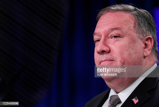 Secretary of State Mike Pompeo speaks during a news conference at the State Department in Washington,DC on July 8, 2020.