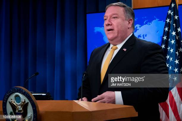 US Secretary of State Mike Pompeo speaks during a press briefing at the US Department of State in Washington DC on October 3 2018 The United States...