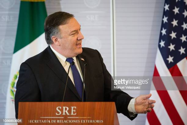 S Secretary of State Mike Pompeo speaks during a press conference as part of an official visit to Mexico at Secretariat of Foreign Affairs on October...